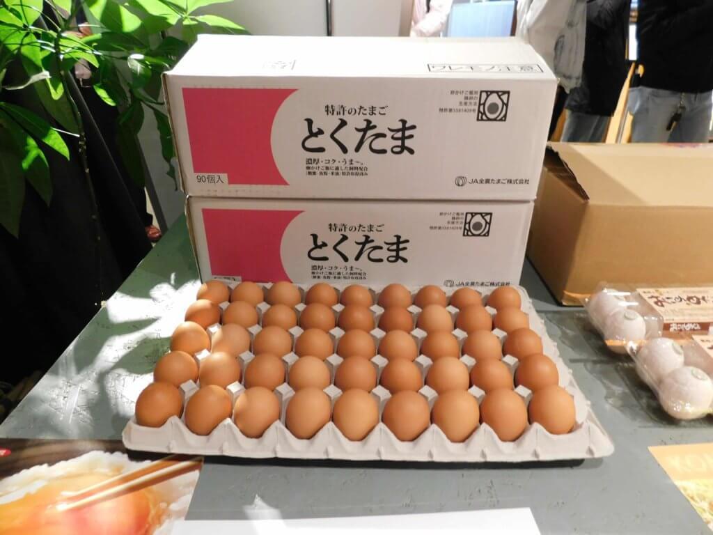 会場に届いた卵の様子