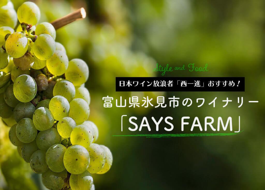 日本ワイン放浪者「西一進」おすすめ!富山県氷見市のワイナリー「SAYS FARM」