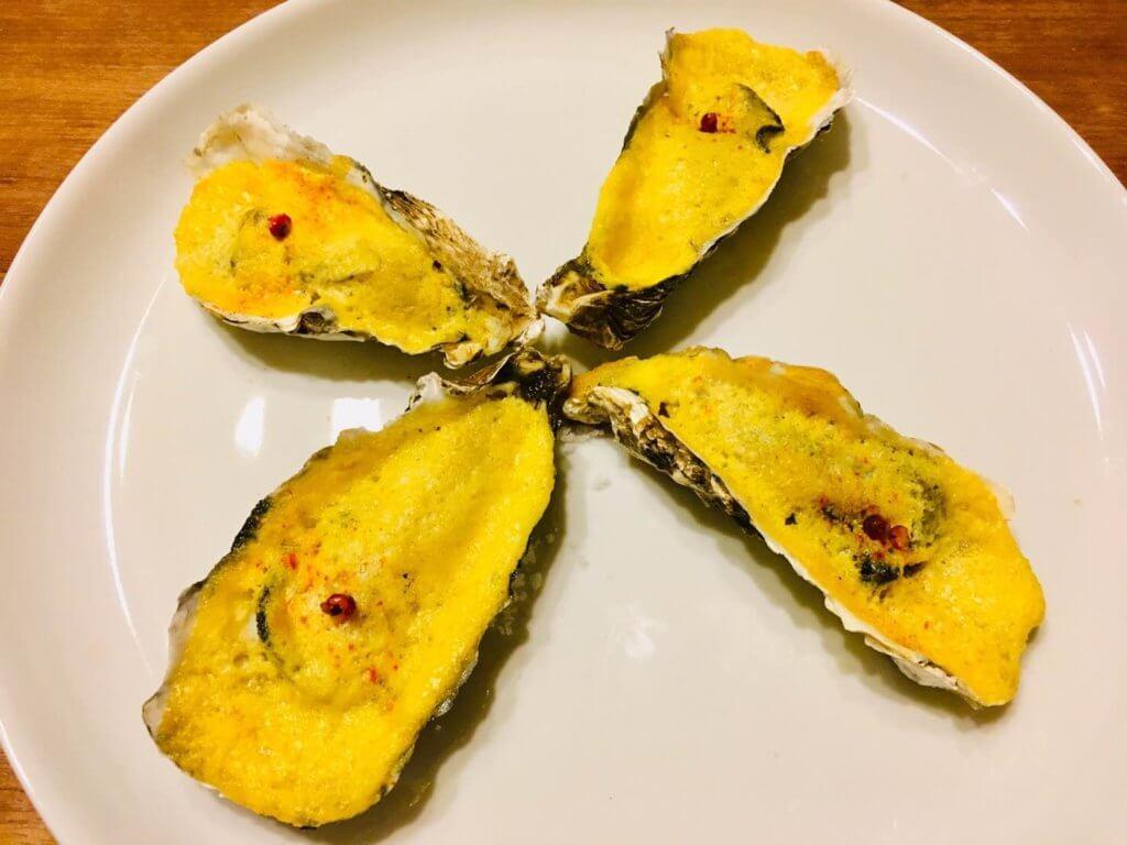 牡蠣のサバイヨン・オ・シャンパーニュの完成品の様子