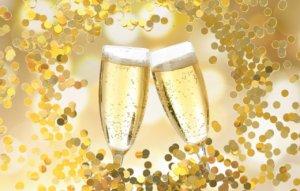 シャンパンの泡がはじけている様子