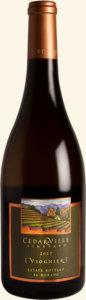 シダーヴィル・ヴィンヤードのラベルが貼られているワインボトルの様子
